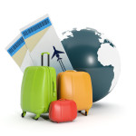 3d illustration: Land and a group of suitcases. To take a vacati